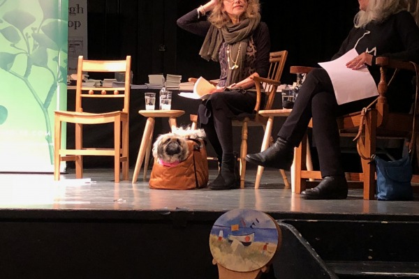 Mimi the pekinese dog on stage at the Ginkgo Prize